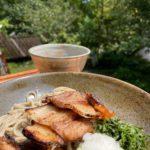 久しぶりの新作できました。Mの国黒豚チャーシューつけ蕎麦